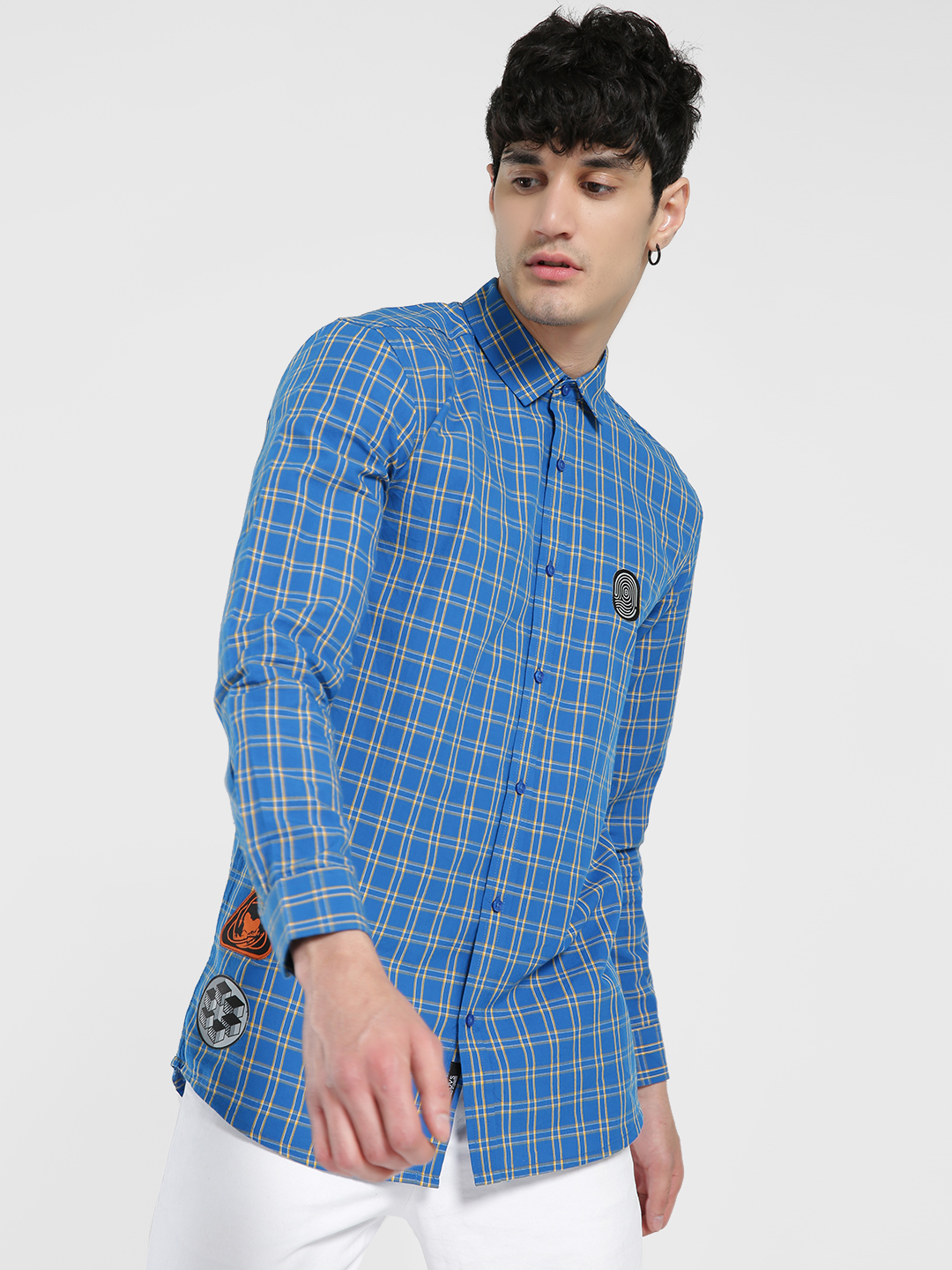 KOOVS Blue Contrast Patch Multi Check Shirt 1