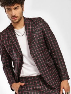 KOOVS Grid Check Slim Blazer