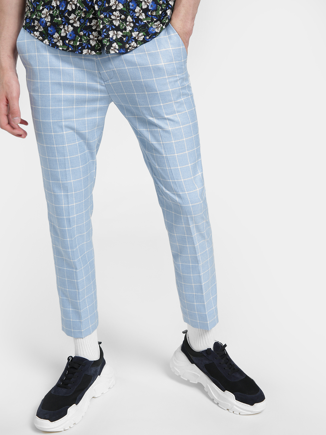 KOOVS Blue Windowpane Check Slim Trousers 1