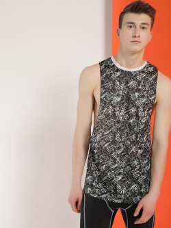 K ACTIVE KOOVS Contrast Back Panel Printed Mesh Vest