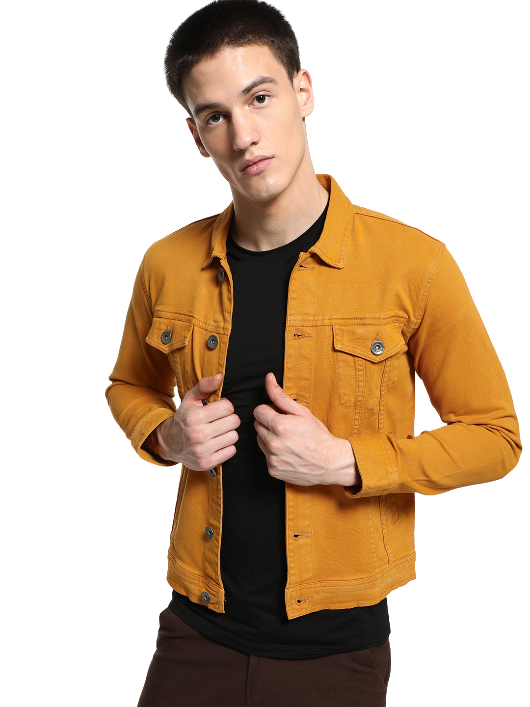 K Denim Yellow KOOVS Overdyed Trucker Denim Jacket 1