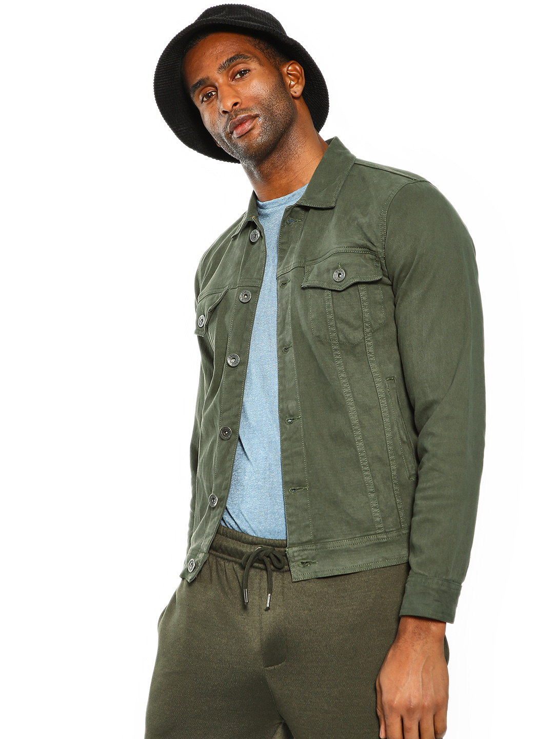 K Denim Olive KOOVS Overdyed Trucker Denim Jacket 1