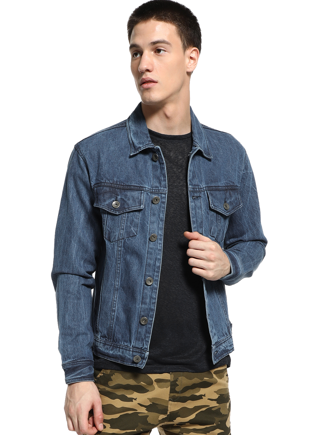 K Denim Dark Blue KOOVS Overdyed Trucker Denim Jacket 1