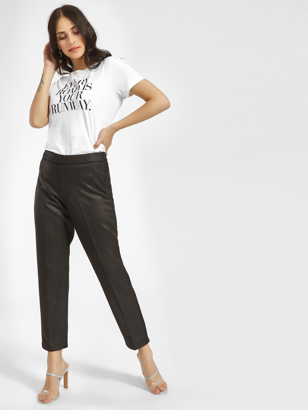 Cover Story Black Houndstooth Check Slim Trousers 1
