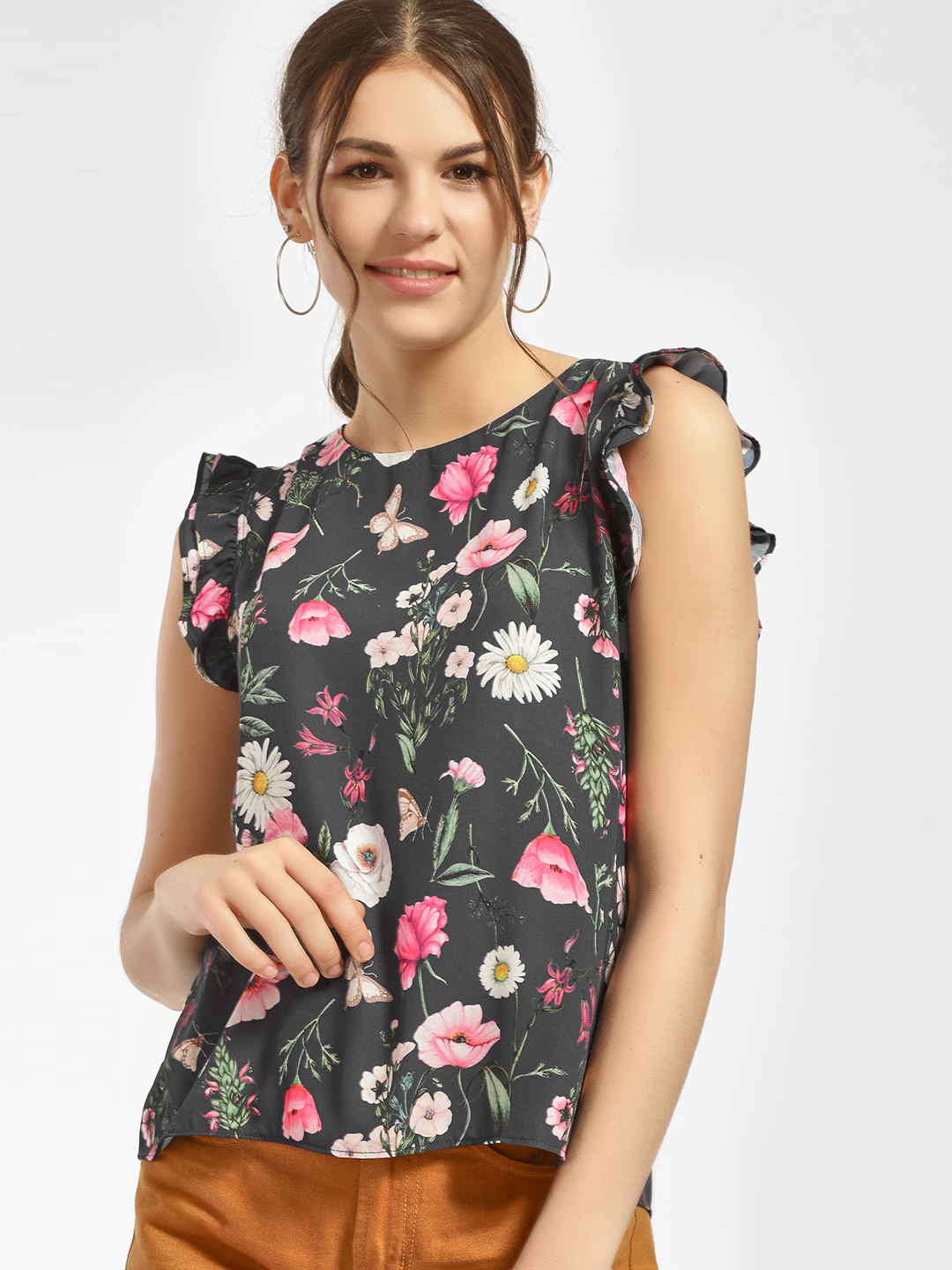 Cover Story Multi Floral Print Frill Sleeve Blouse 1