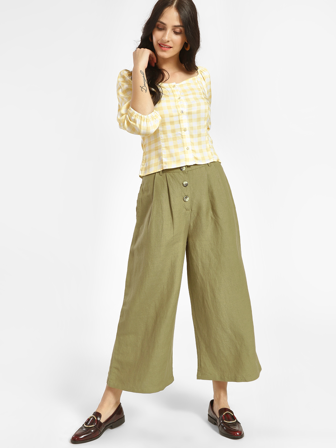 Cover Story Green High Waist Cropped Palazzo Pants 1