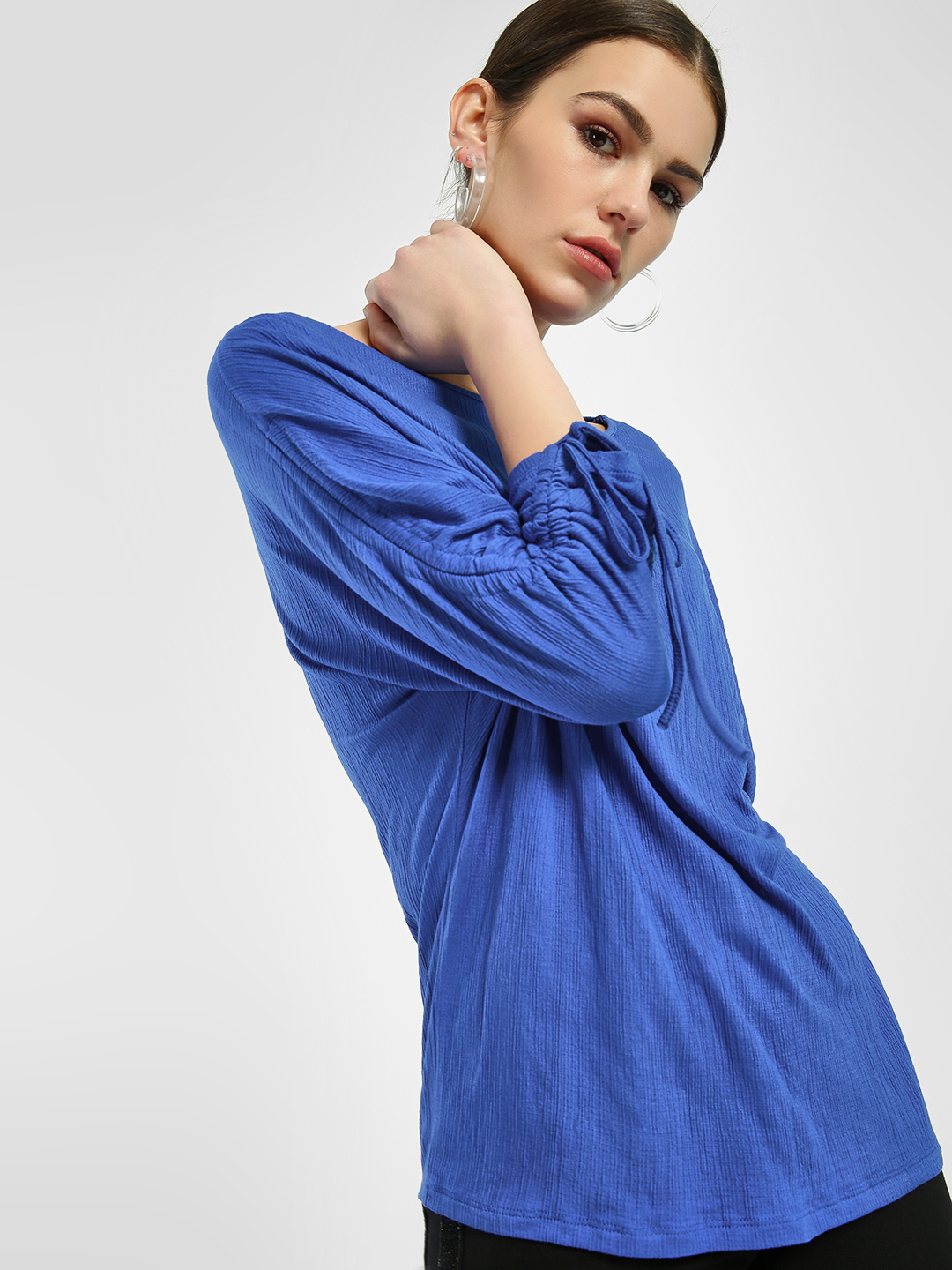 Femella Blue Woven Tunnel Sleeve Top 1