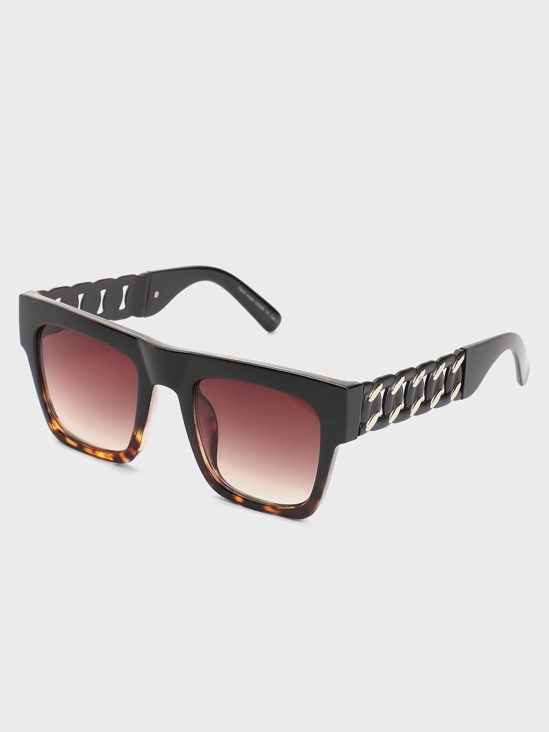 Pataaka Brown Twisted Chain Temple Square Sunglasses 1