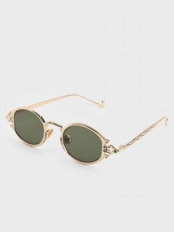 Pataaka Antique Frame Round Sunglasses
