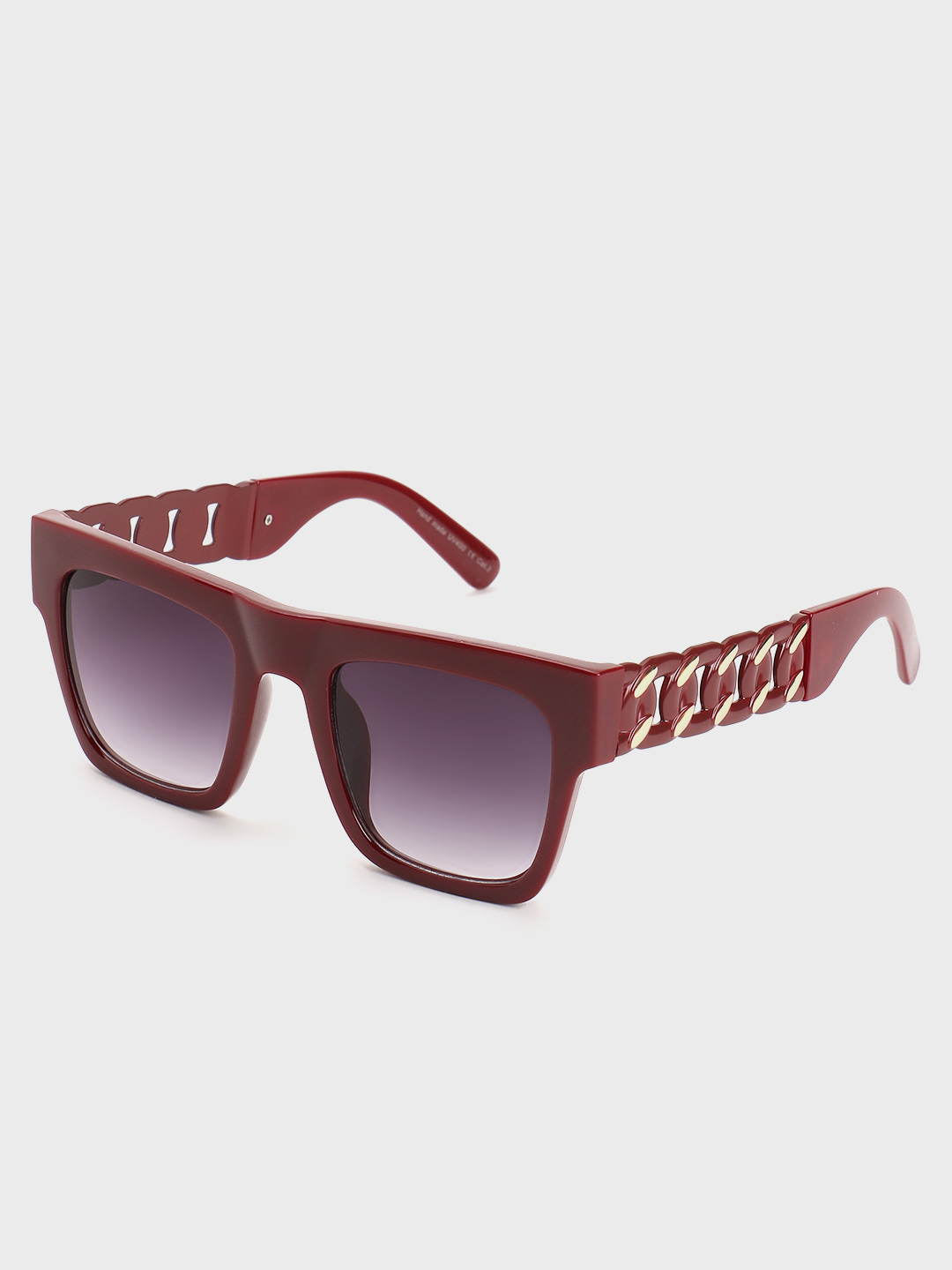 Pataaka Red Twisted Chain Temple Square Sunglasses 1