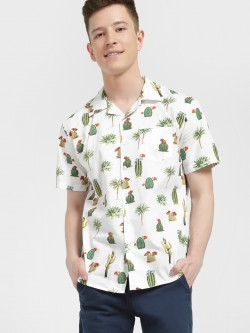 Spring Break Desert Island Print Cuban Shirt