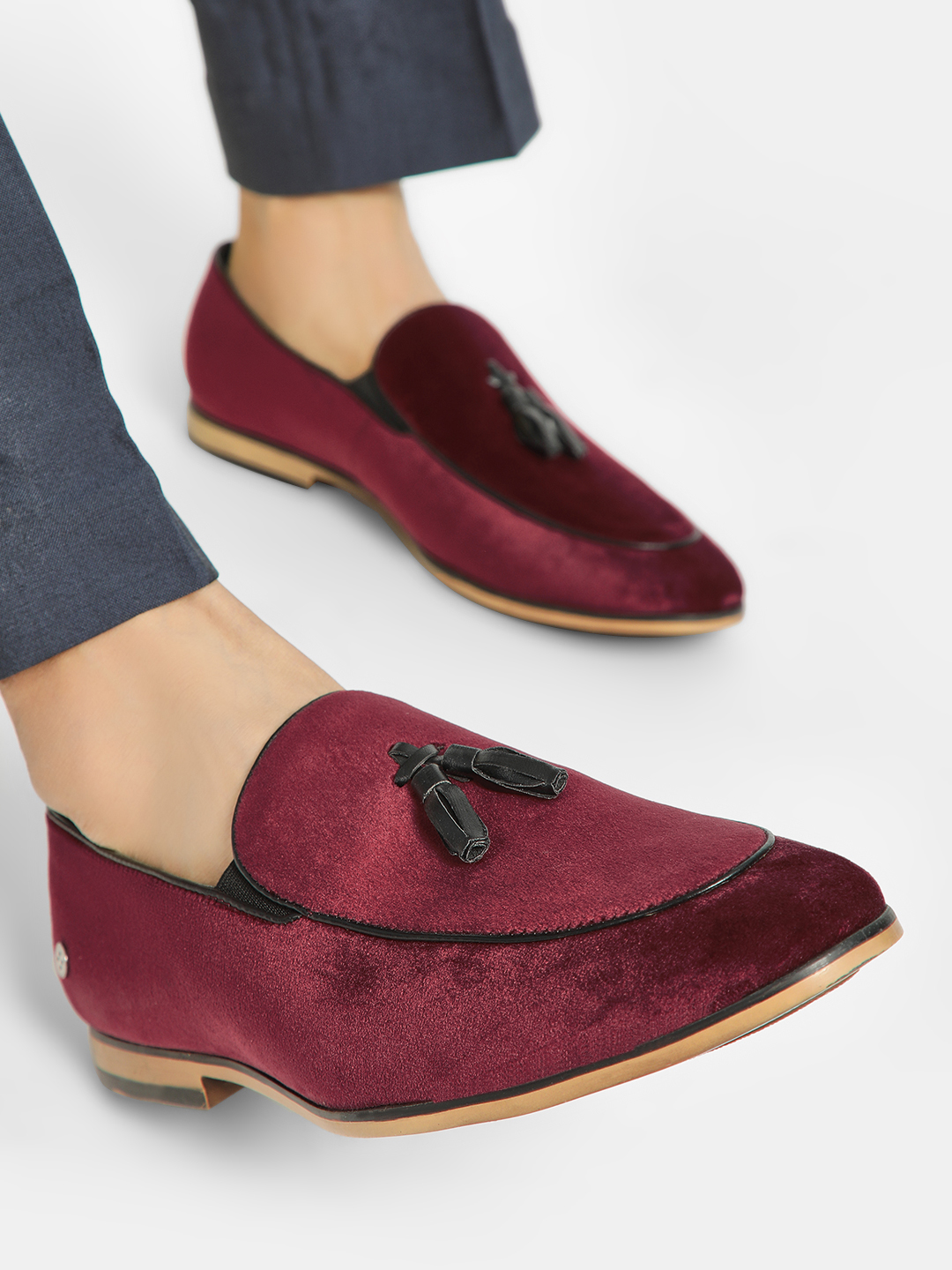 Mr Button Red Velour Tassel Trim Loafers 1