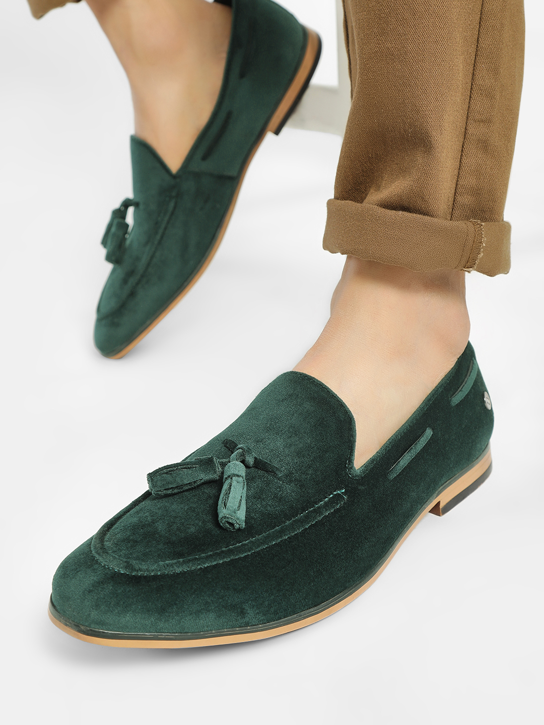 Mr Button Green Suede Tassel Loafers 1