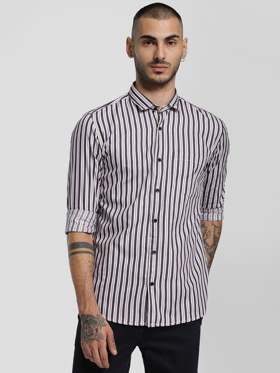 AMON MULTICOLOUR Vertical Stripe Slim Shirt 1