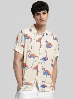 AMON Flamingo Print Cuban Collar Shirt