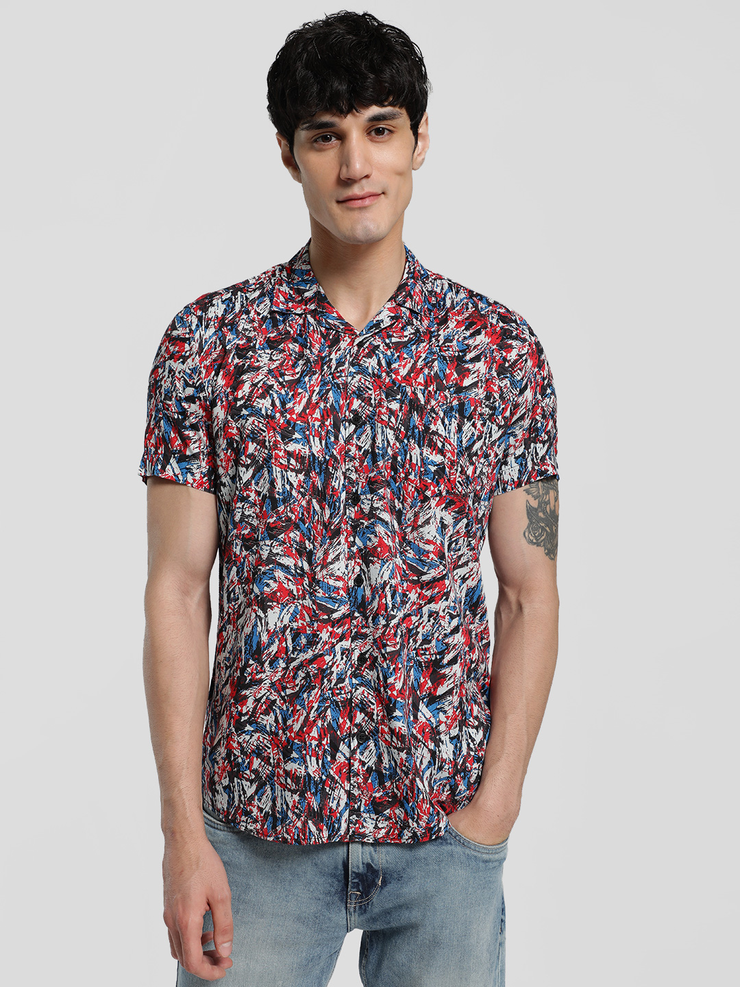 AMON MULTICOLOUR Abstract Print Cuban Collar Shirt 1