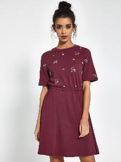 KOOVS Sequin Embellished Skater Dress