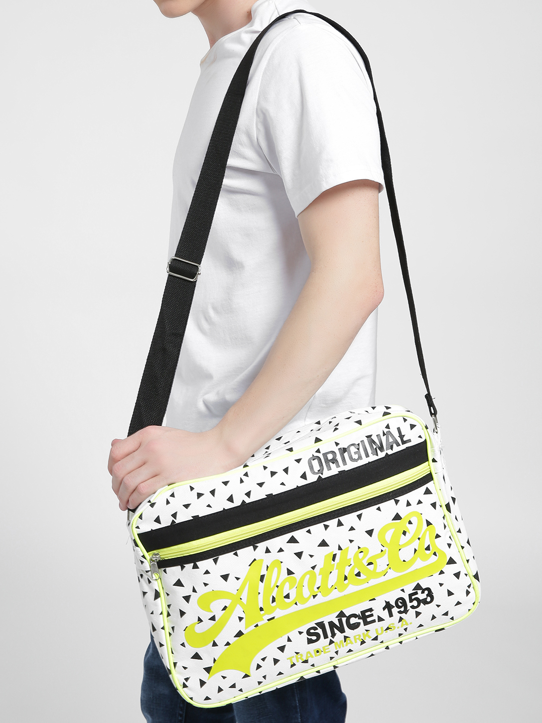 Alcott White All Over Print Laptop Bag 1