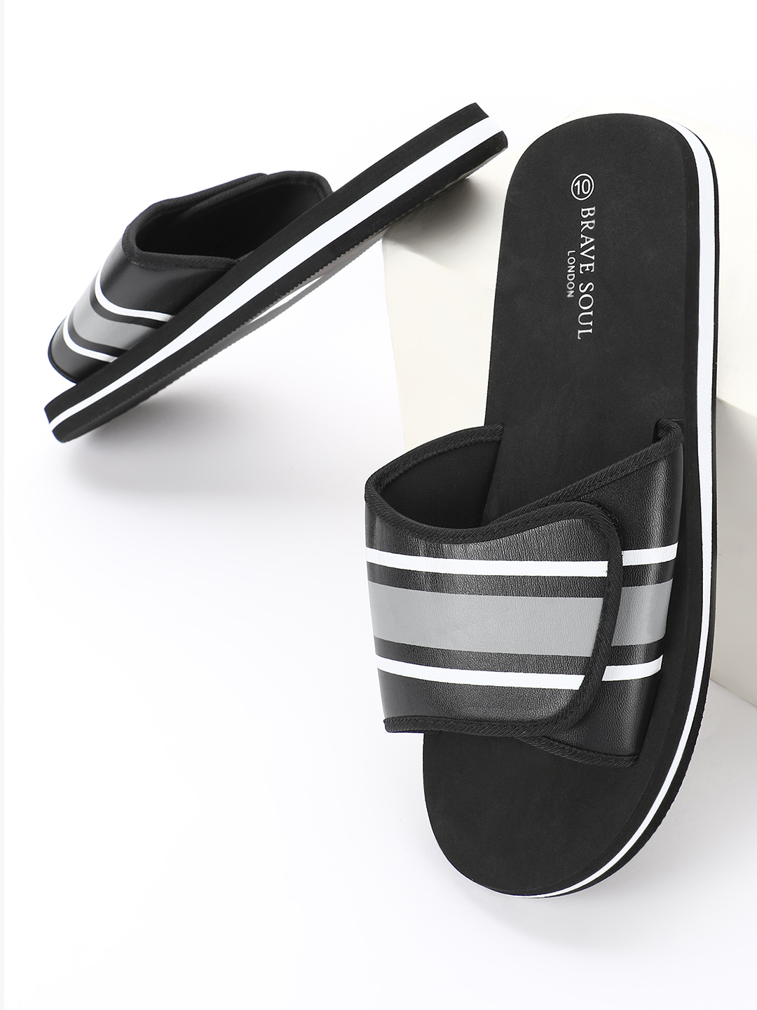 Brave Soul Black Broad Strap Form Slides 1
