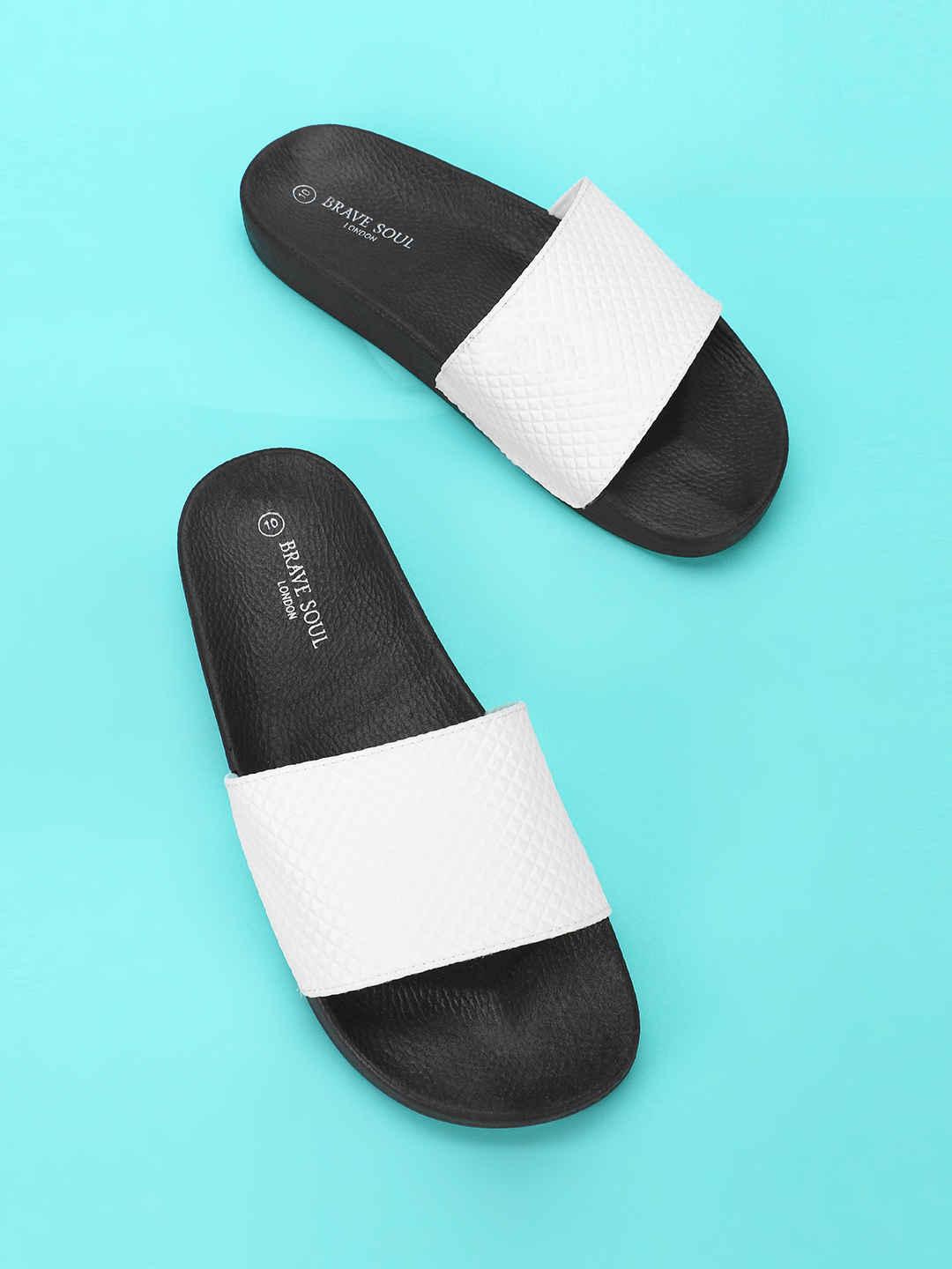 Brave Soul White Embossed Strap Slides 1
