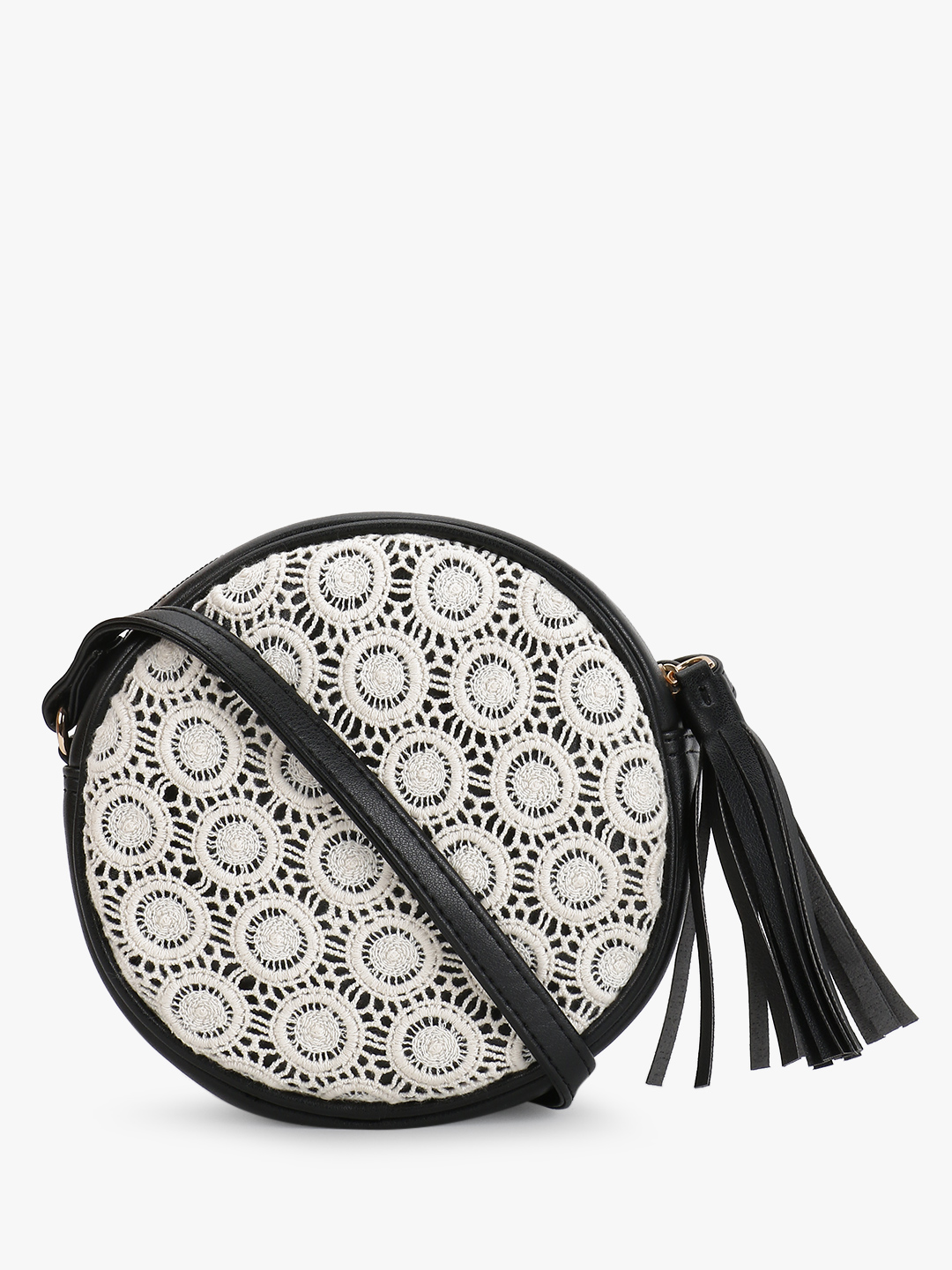 Paris Belle Black Crochet Lace Round Sling Bag 1