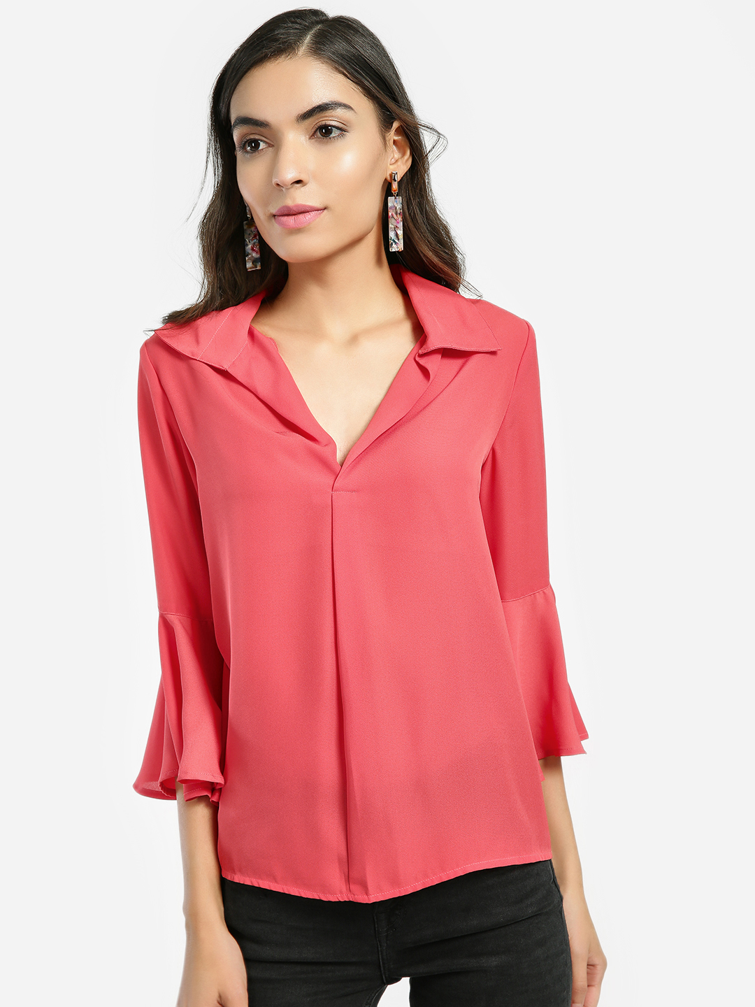 KOOVS Red Bell Sleeve Collared Blouse 1