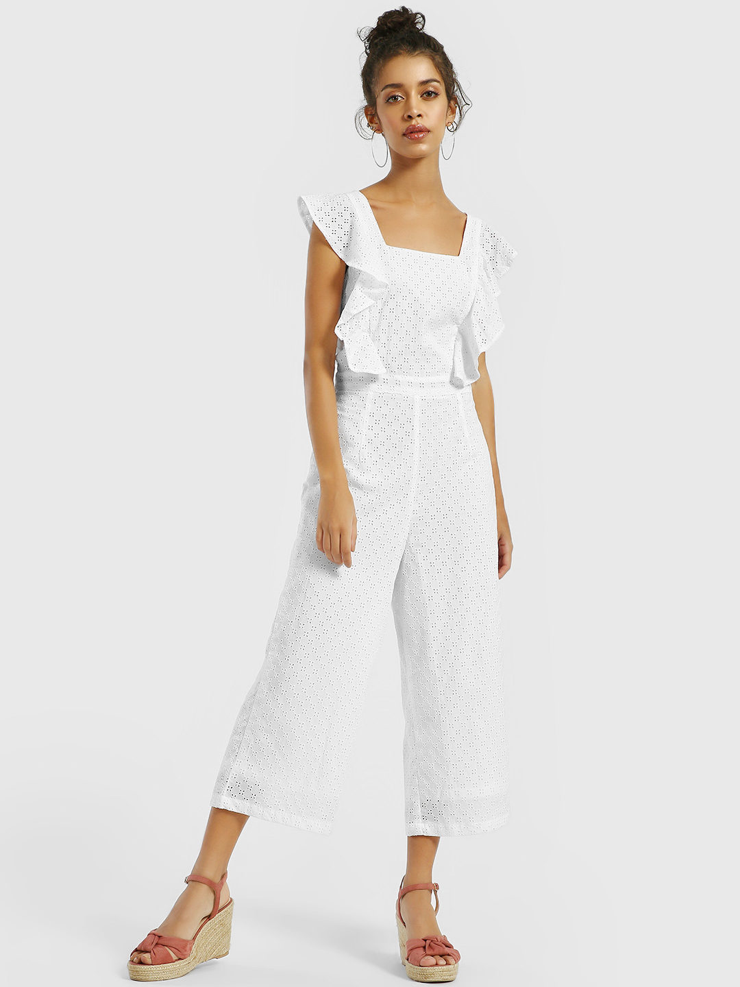 KOOVS White Broderie Cross-Back Cropped Jumpsuit 1