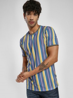 KOOVS Multi-Stripe Muscle Fit Ringer T-Shirt