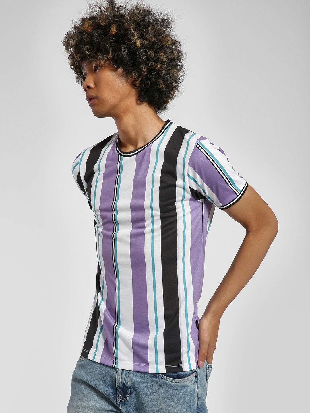 KOOVS Multi Multi Stripe Muscle Fit T-Shirt 1