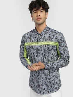 KOOVS Abstract Print Slogan Tape Shirt