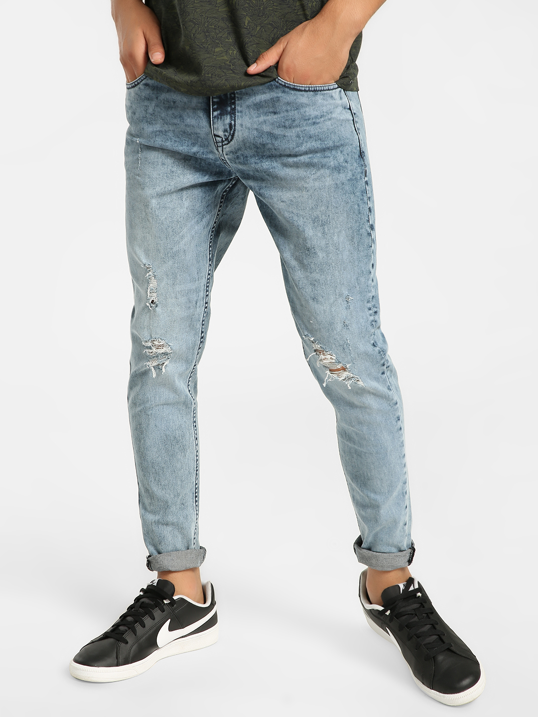 K Denim Blue KOOVS Acid Wash Distressed Skinny Jeans 1