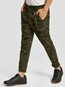 KOOVS Camo Chain Detail Tapered Chinos