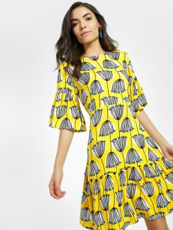 Closet Drama Tulip Print Flutter Sleeve Dress