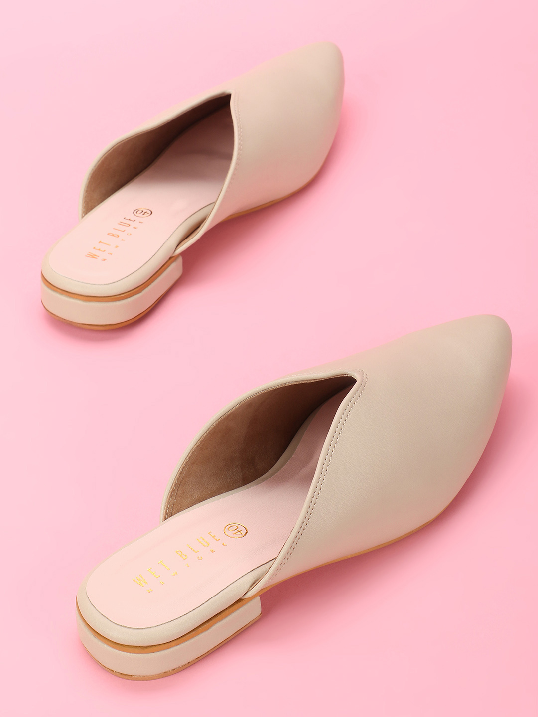 Wet Blue Beige Pointed Toe Flat Mules 1