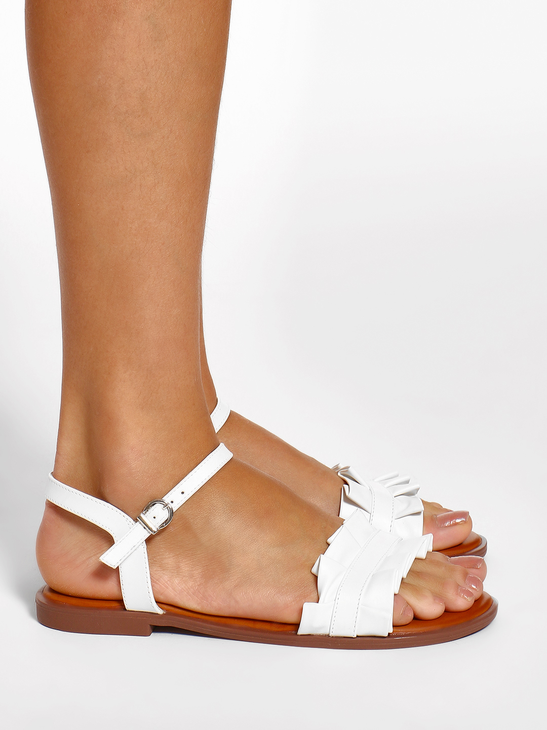 Wet Blue White Ruffle Strap Flat Sandals 1