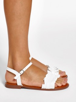 Wet Blue Ruffle Strap Flat Sandals