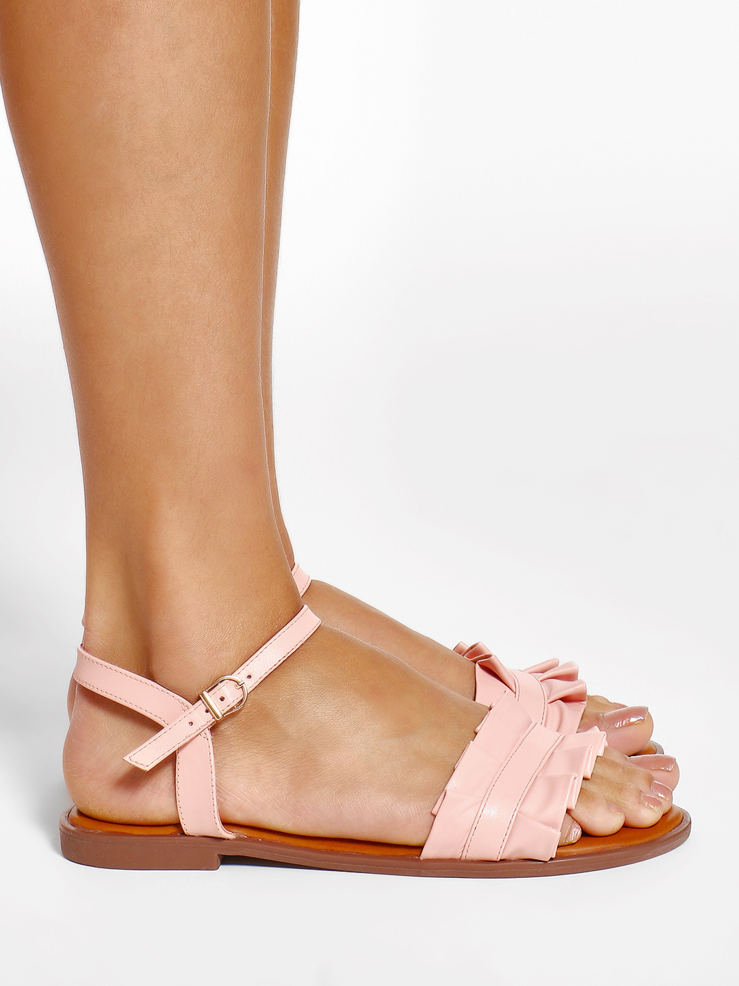 Wet Blue Pink Ruffle Strap Flat Sandals 1