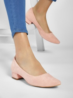 Wet Blue Suede Block Heel Pumps