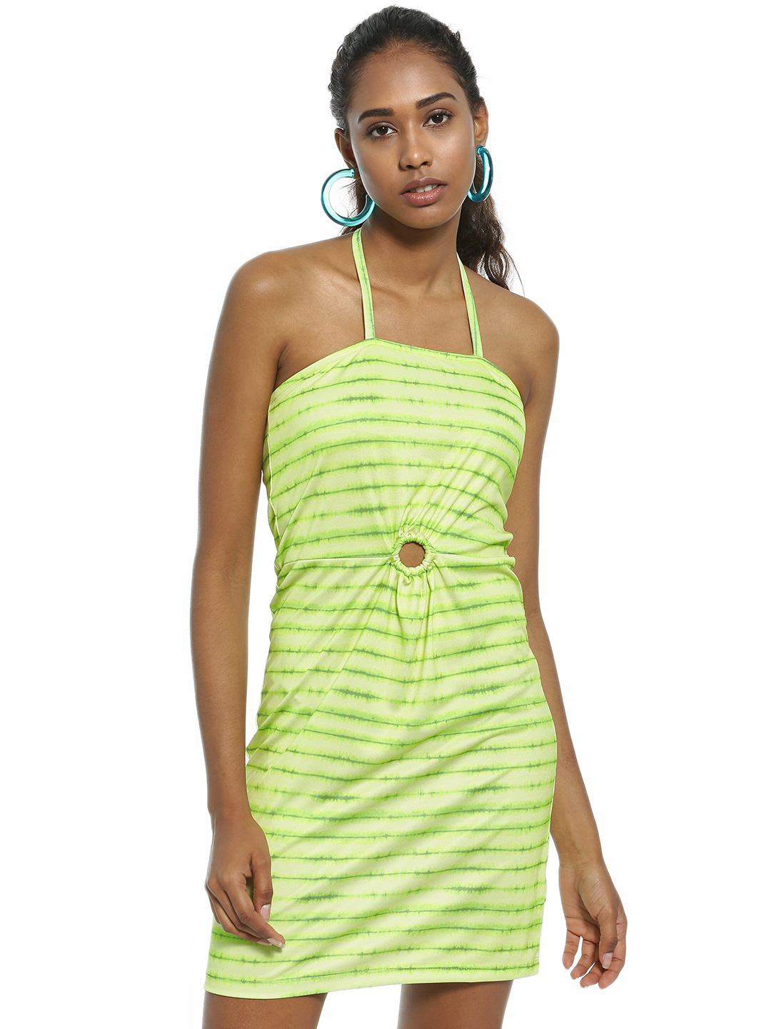 KOOVS Green Tie & Dye O-Ring Bodycon Dress 1