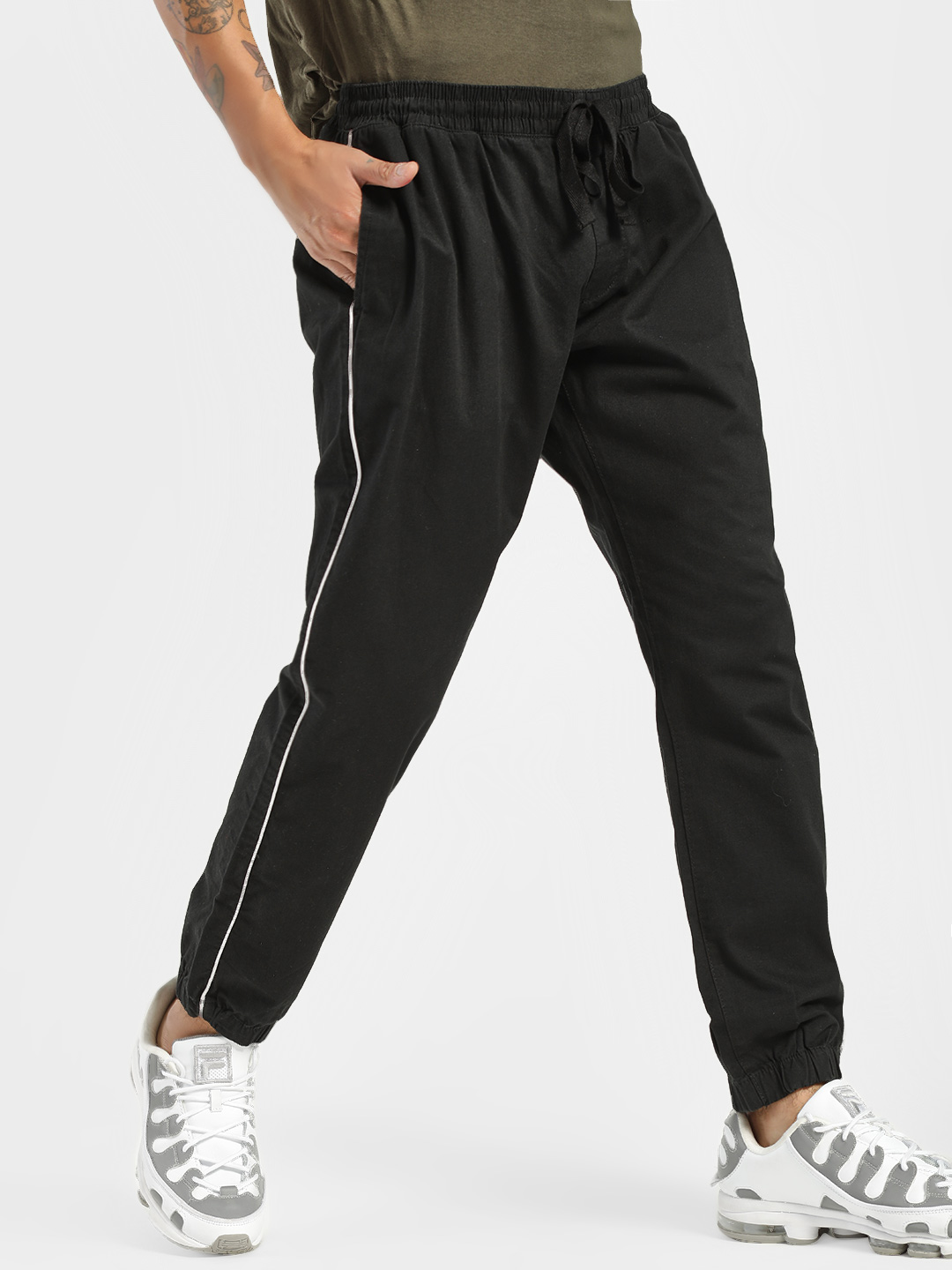 Brave Soul Black Contrast Side Piping Joggers 1