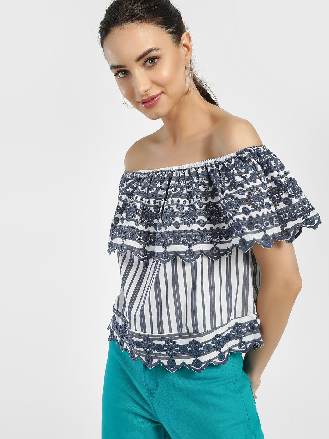 Iris Navy/White Broderie Stripe Off-Shoulder Top 1