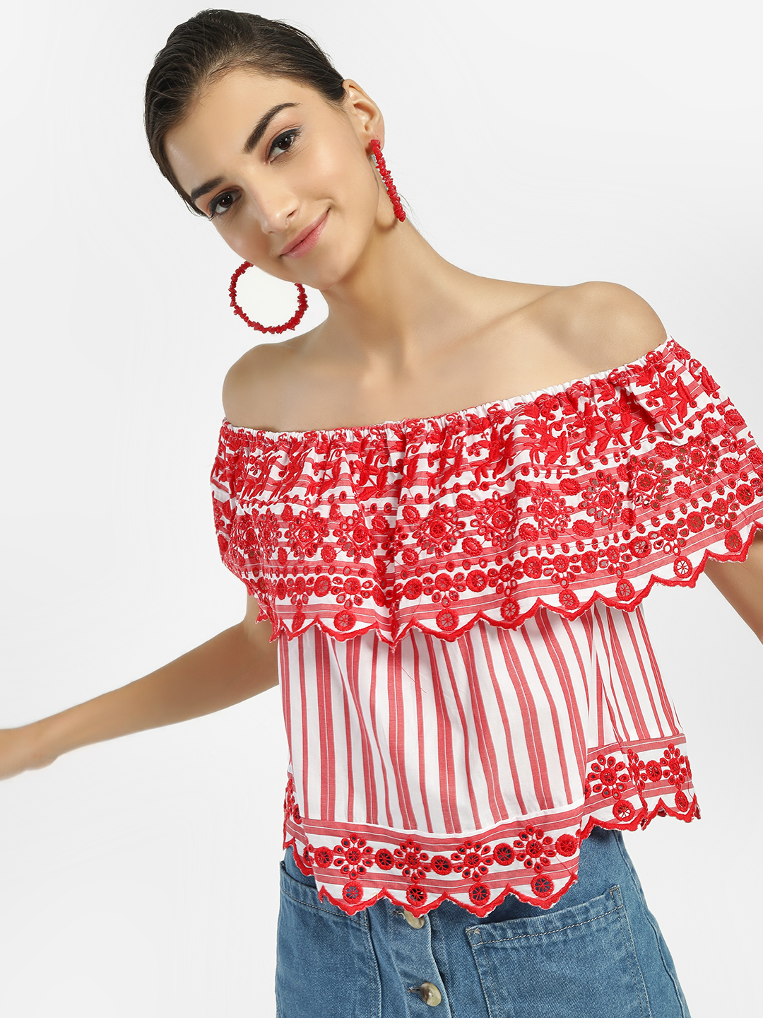 Iris Red/White Broderie Stripe Off-Shoulder Top 1