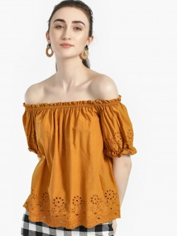 Iris Broderie Hem Off-Shoulder Top