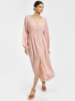 Iris Smocked Waist Button-Up Midi Dress