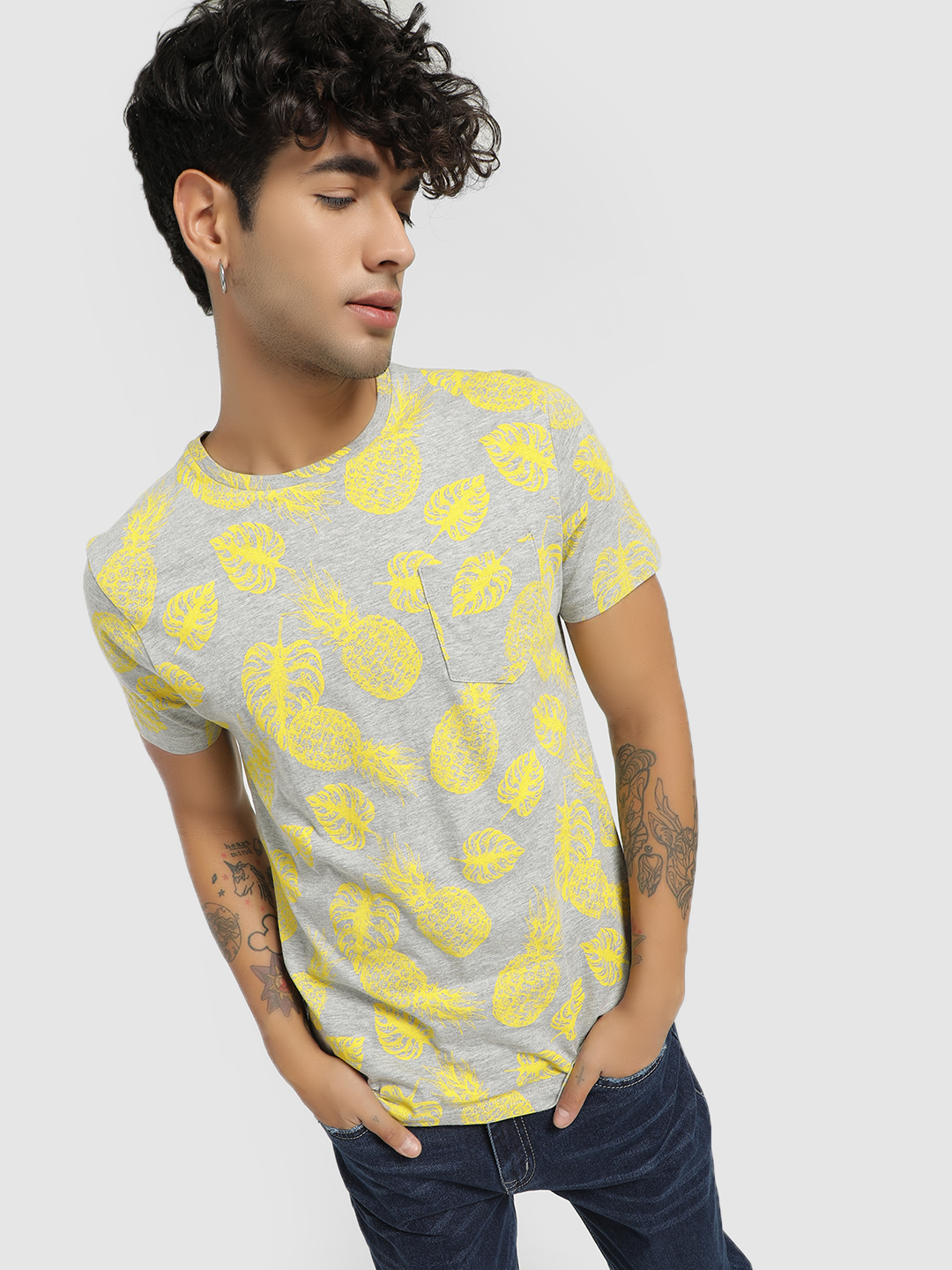 Brave Soul Grey Pineapple Print T-Shirt 1