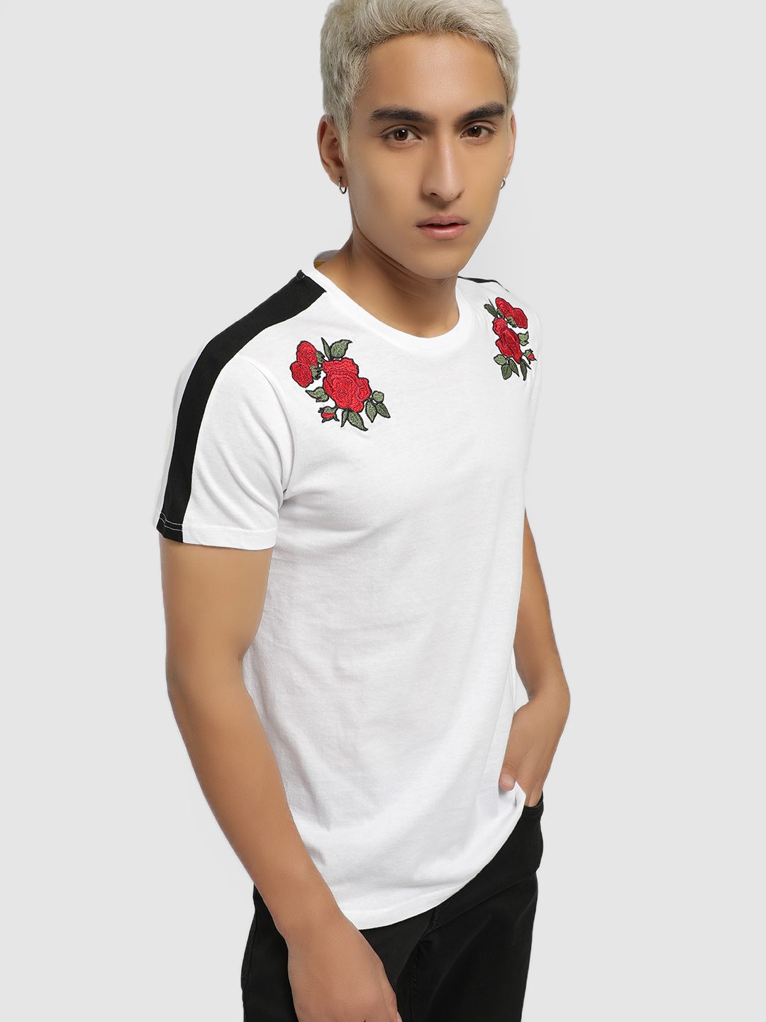 Brave Soul White Rose Embroidered Side Tape T-Shirt 1