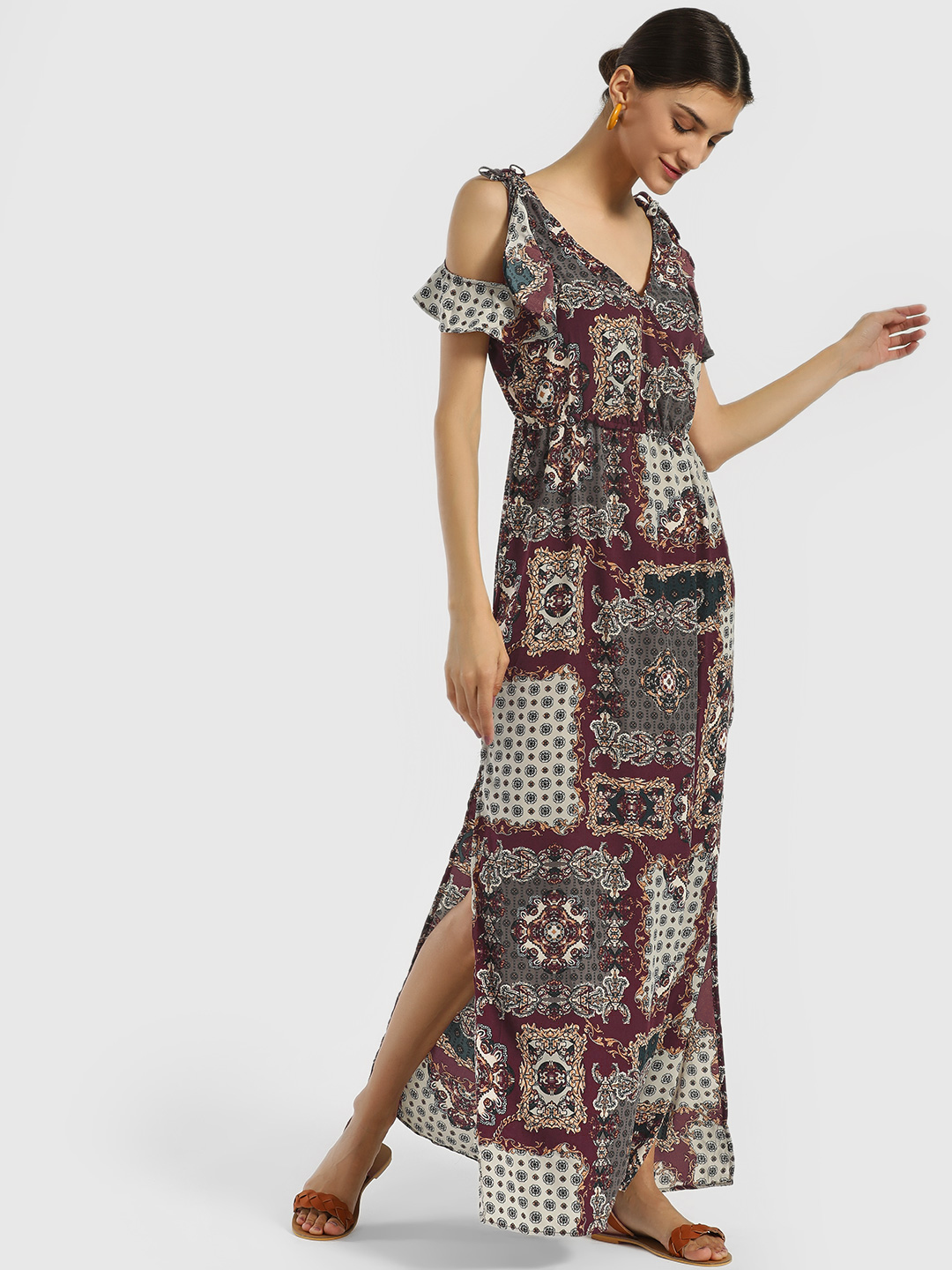 Iris Grey/Burgundy/Green Scarf Print Maxi Dress 1