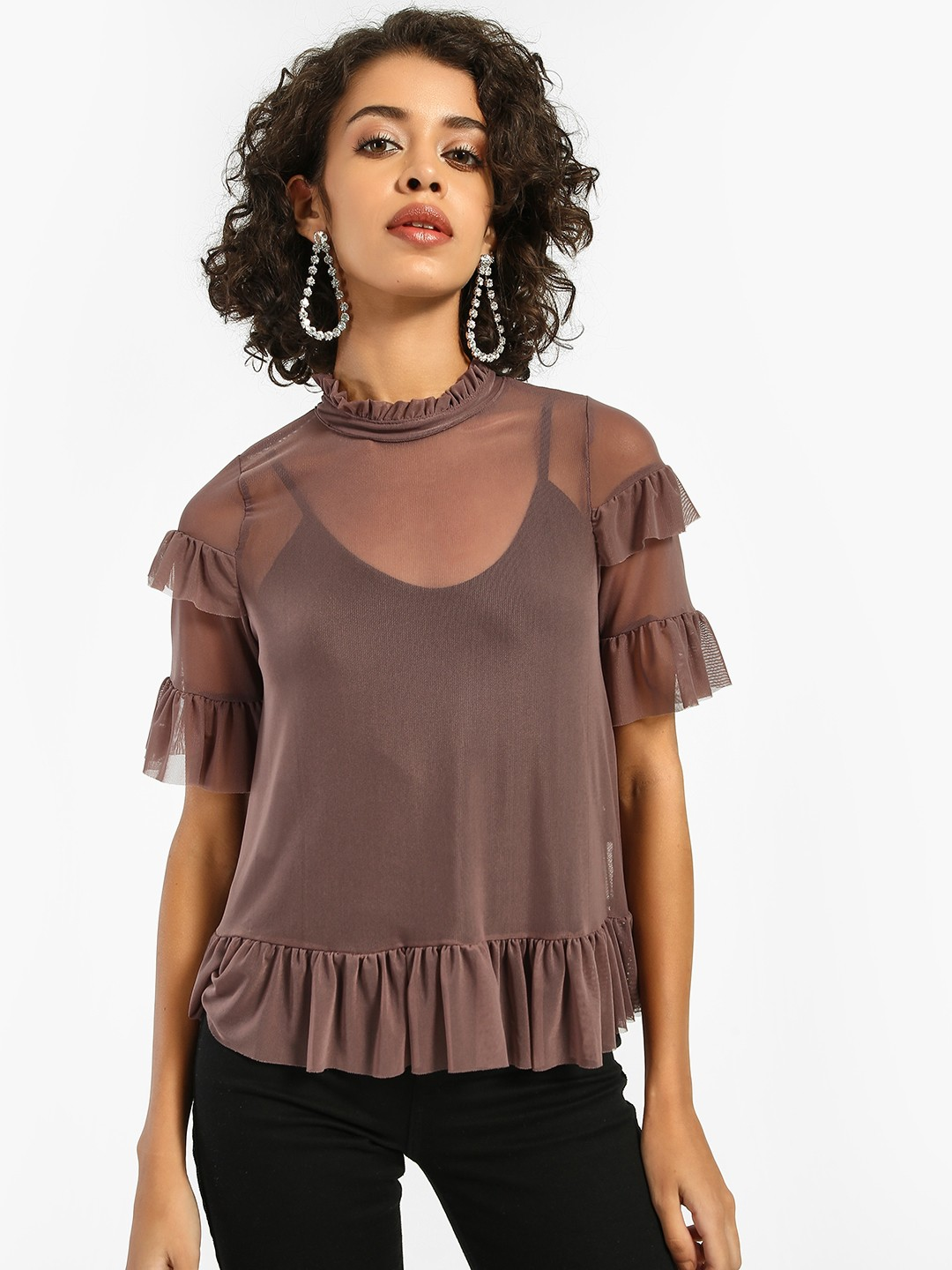 Iris Brown Ruffled Mesh Blouse 1