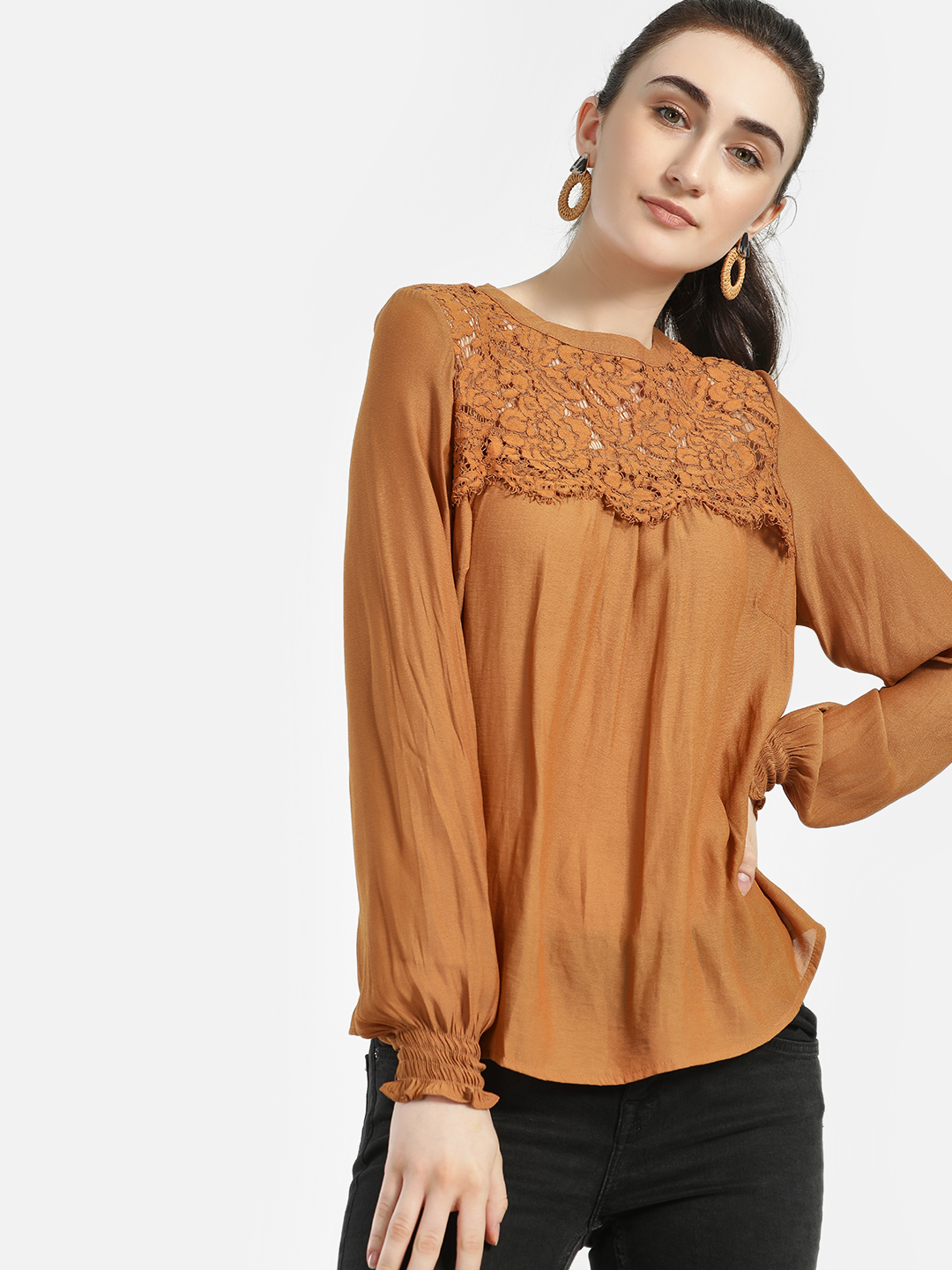 Iris Brown Floral Lace Smocked Cuff Blouse 1
