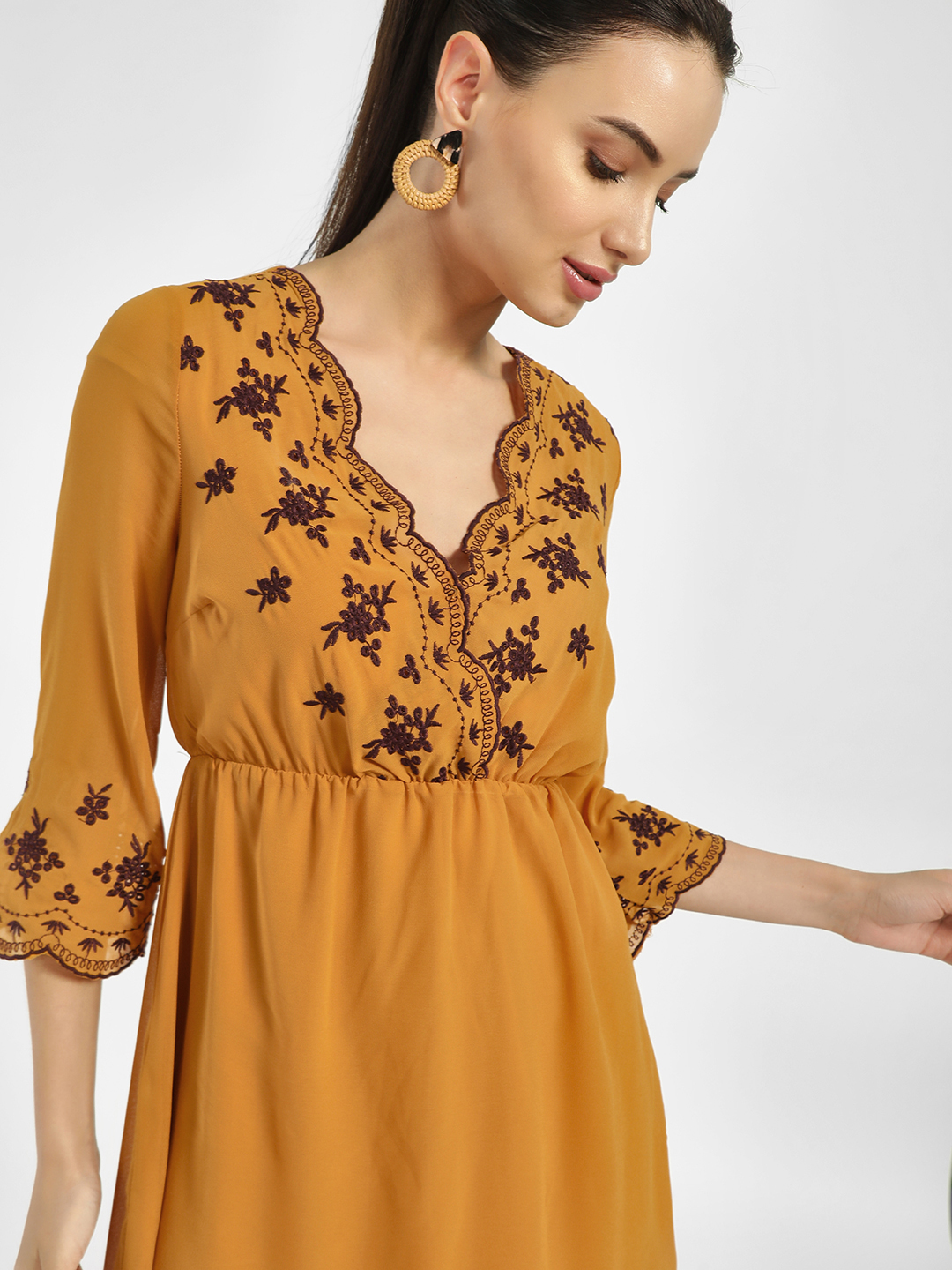 Iris Multi Scalloped Embroidered Hem Shift Dress 1